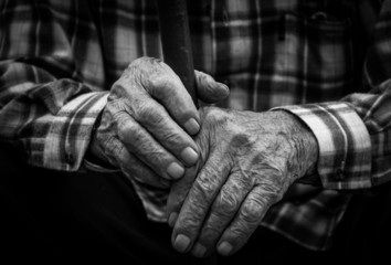 Hands of the old man