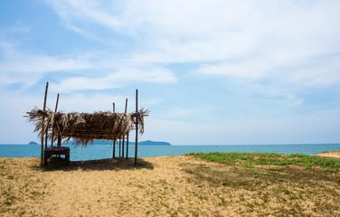 A bamboo hut at the beach