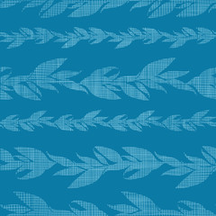 Blue vines stripes textile textured seamless pattern background