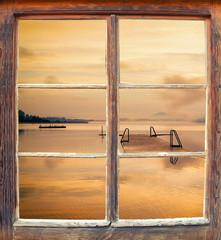 Fensterblick Sonnenaufgang