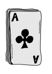doodle ace of clubs isolated on white