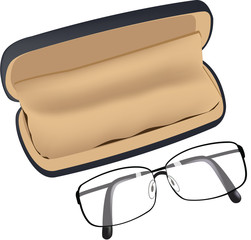 astuccio con occhiali