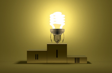 Glowing fluorescent light bulb character on podium