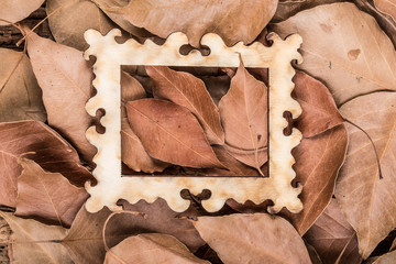 dried autumn leaves in a wooden frame