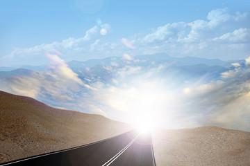 suburban road and beautiful mountain landscape