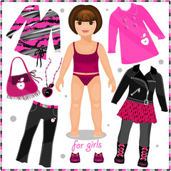 Paper doll with a set of fashion clothes.