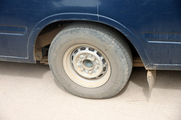 Wheel of the pickup in payload.