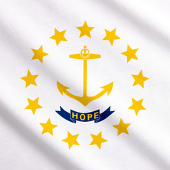 Rhode Island flag waving