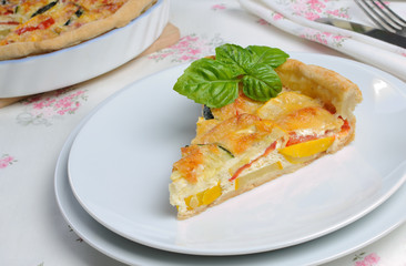 quiche with zucchini and tomato baked cheese