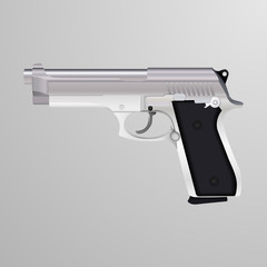 Realistic illustration of a silver 9 mm caliber gun