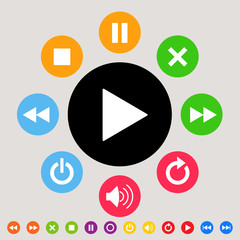 Music & multimedia player icon set - colorful theme