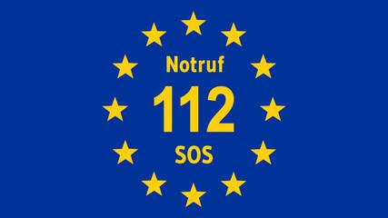 Fahne von Europa mit Notruf Telefonnummer - 16 zu 9 - g1075