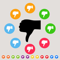 Thumbs down - colorful vector icon set - bad & dislike concept