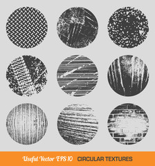Set of vector vintage circular textures