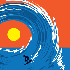 Figure surfing on a large wave