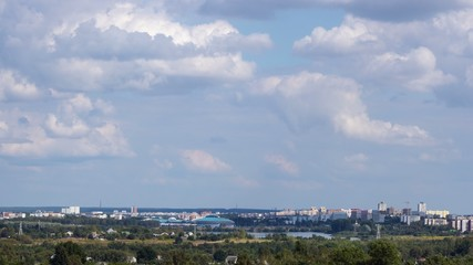 Minsk. View of the Chizhovka-arena and cityscape. Time lapse