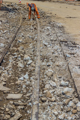 Works on the of reconstruction tram tracks 3