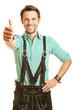 canvas print picture - Mann in Lederhose hält Daumen hoch