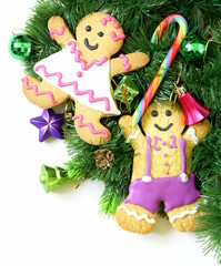 traditional Christmas gingerbread man with festive decorations