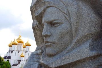 War memorial and Dormition church in Yaroslavl.