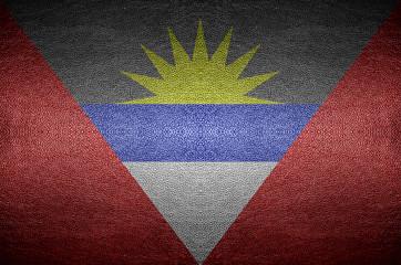 closeup Screen Antigua and Barbuda flag concept on PVC leather f