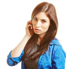 Junge attraktive Frau mit langen Haaren