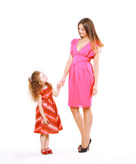 Stylish joyful mom and daughter