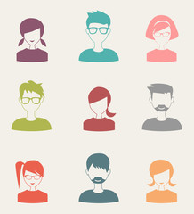 trendy flat people icons set 3