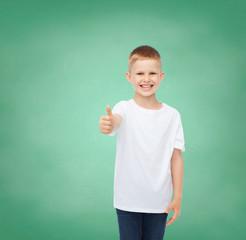 little boy in white t-shirt