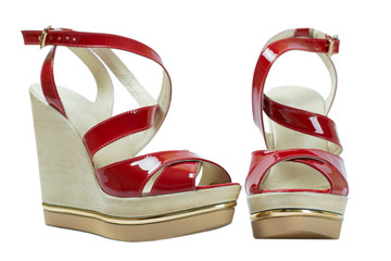 A pair of red women's sandals