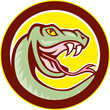 Rattle Snake Head Circle Cartoon
