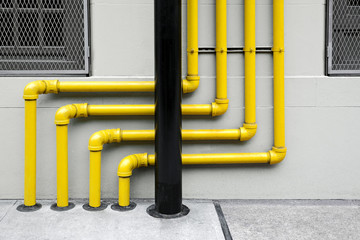 colorful of pipes under the modern building