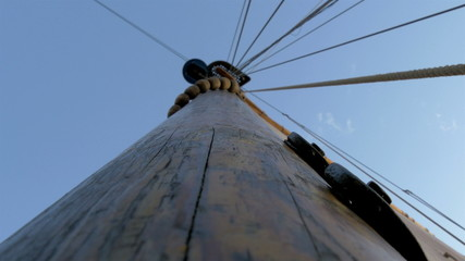 A sail mast of the ship with a big cloth for sailing GH4 4K UHD