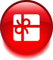 Круглый векторный значок с изображением подарка