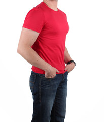 Man with red t shirt