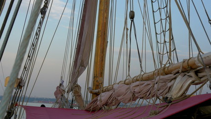 Ropes on the sail mast of the ship GH4 4K UHD