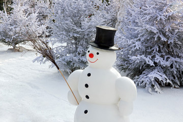 Bonhomme de neige et son balais de fagot
