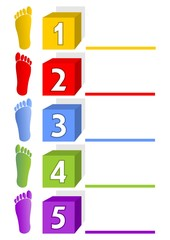 Presentation template - five steps with footprints