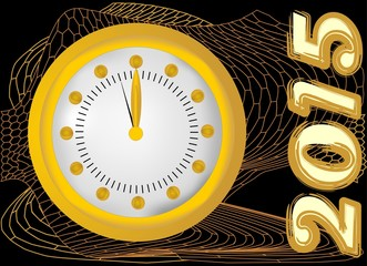 2015 - New year background with clock and gold mesh