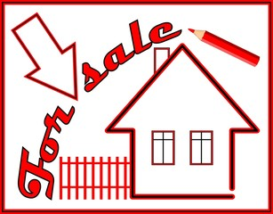 Label house for sale with red pencil