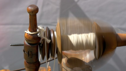 An old spinning wheel fastly turning around GH4 4K UHD
