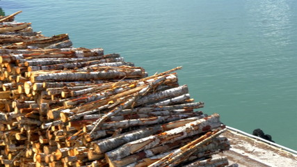 Heap of pulpwood for fire on display on the harbour GH4 4K UHD