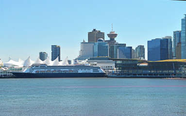 Vancouver Skyline, Canada Place and Cruise port.