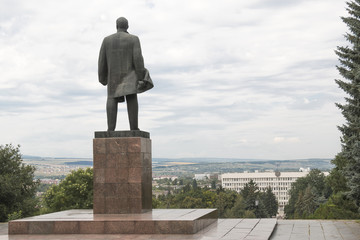 Monument to Lenin in Pyatigorsk, look to city administration bui