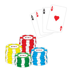 Poker chips and aces poker vector