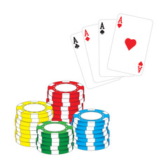 Poker chips and aces poker