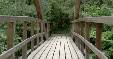 The wooden hanging bridge on the forest Sony FS700 Odyssey 7Q 4K