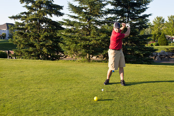 Golfer hitting the ball on the tee