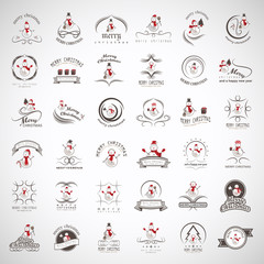Snowman Elements Set - Isolated On Gray Background