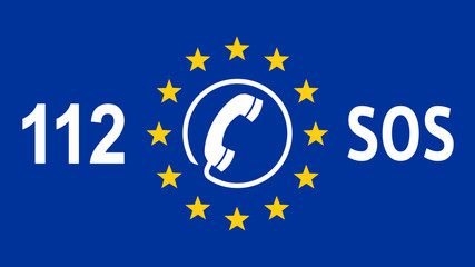 flag of europe with sos telephone number 112 - 16 zu 9 - g1076